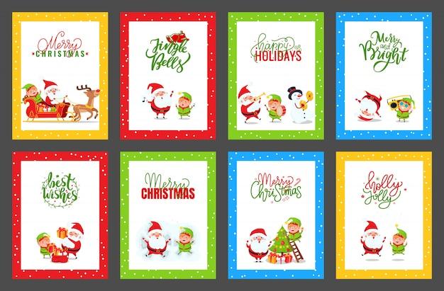 Kolekcja kartek świątecznych z cute śnięty mikołaj