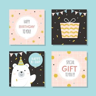 Kolekcja kartkę z życzeniami urodzinowymi