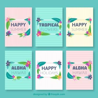 Kolekcja karty tropikalnych kwiatów i liści