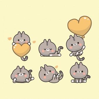 Kolekcja kawaii śliczny kotek
