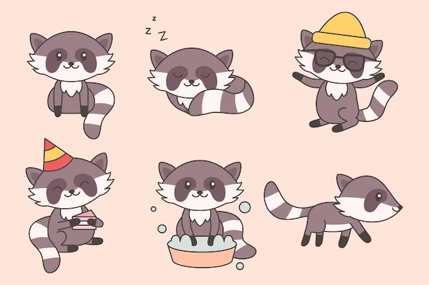 Kolekcja kawaii śmieszny szop pracz. zestaw znaków kreskówka szopy ładny dla dziecka, przedszkola, dzieci design. szczęśliwe dzieci zwierząt. ilustracja wektorowa