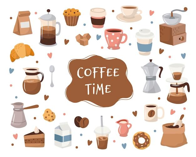 Kolekcja kawy, różne elementy kawy z napisem.