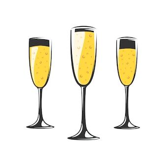 Kolekcja kieliszków do szampana na białym tle