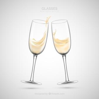 Kolekcja kieliszków do wina w realistycznym stylu