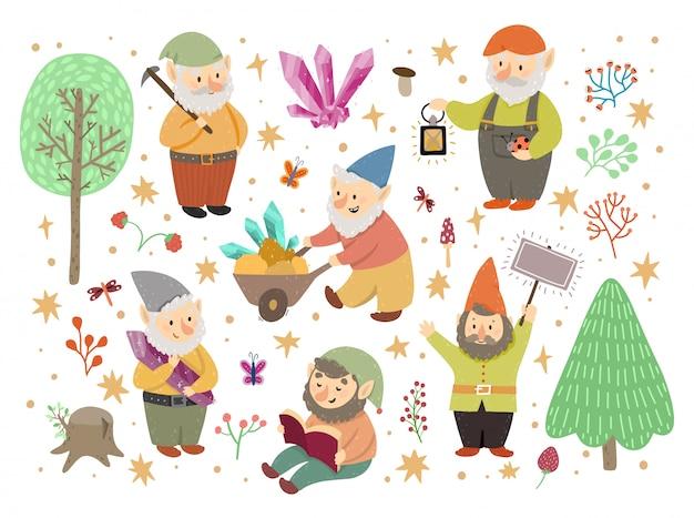 Kolekcja klasycznych krasnali ogrodowych, zestaw uroczych bajkowych postaci z kreskówek. różne sytuacje. fantastyczna postać elfa gnomów tworzy magiczny świat.