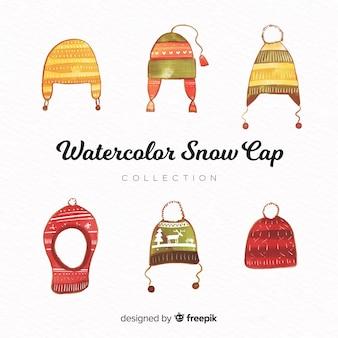 Kolekcja klasycznych zimowych kapeluszy akwarela