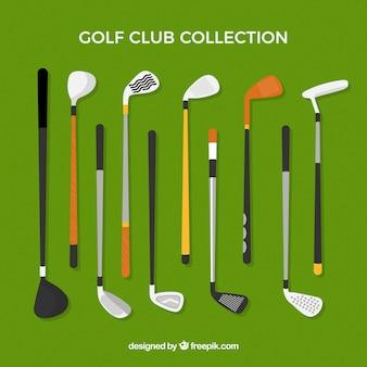 Kolekcja klubów golfowych w stylu płaski