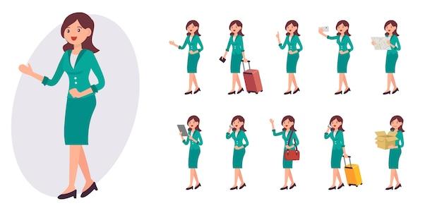 Kolekcja kobiece postaci z kreskówek w dziesięciu różnych pozach i gestach