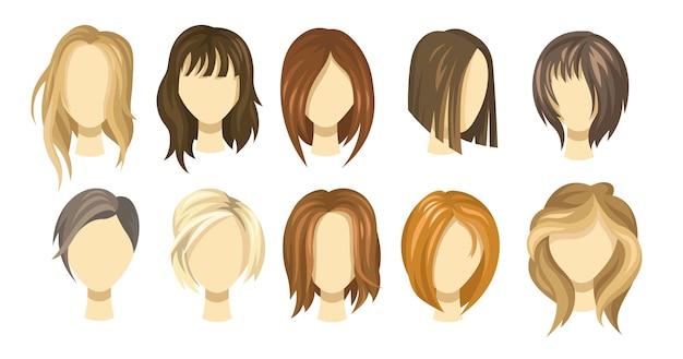 Kolekcja kobiecych włosów. fryzury blond, brązowe i rude dla dziewczynek