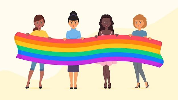 Kolekcja kobiet dzień dumy trzymając flagę pokoju