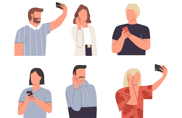 Kolekcja kobiet i mężczyzn z telefonami komórkowymi. młodych uroczych mężczyzn i kobiet rozmawia przez telefon, biorąc selfie, sms-y. zestaw różnych działań z telefonem. płaska ilustracja