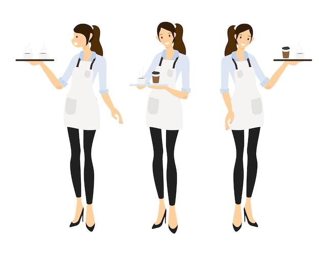 Kolekcja kobiet kelner barista lub kawa w stylu płaski