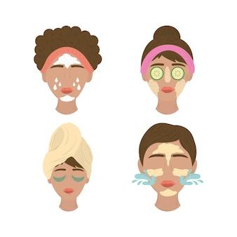 Kolekcja kobiet nakładających maseczki na twarz, rutynowa pielęgnacja skóry ilustracja