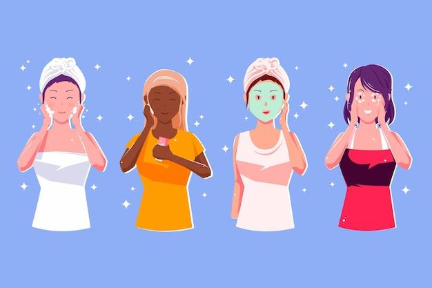 Kolekcja kobiet wykonujących rutynową pielęgnację skóry