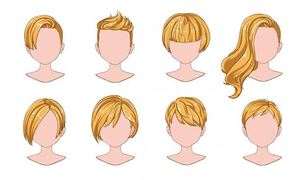 Kolekcja kobieta piękna fryzura