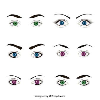 Kolekcja kobieta wygląda z kolorowymi oczami