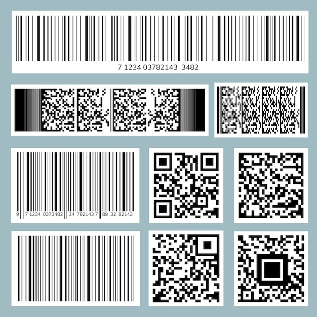 Kolekcja kodów kreskowych i kodów qr