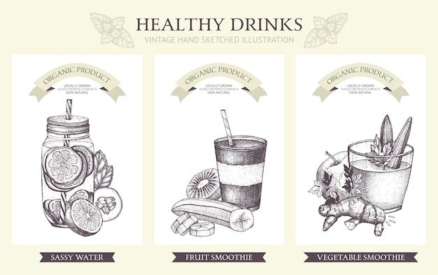 Kolekcja koktajli detox. ilustracje zdrowe napoje w stylu vintage.