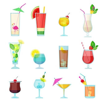 Kolekcja koktajli. letnie napoje alkoholowe płynne jedzenie w szklankach wódka mojito sambuca martini wektor zestaw. martini i mojito koktajl, ilustracja płynnego alkoholu