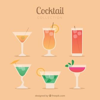 Kolekcja koktajli z różnymi alkoholami