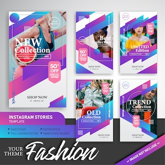 Kolekcja kolorowa moda szablon historie instagram