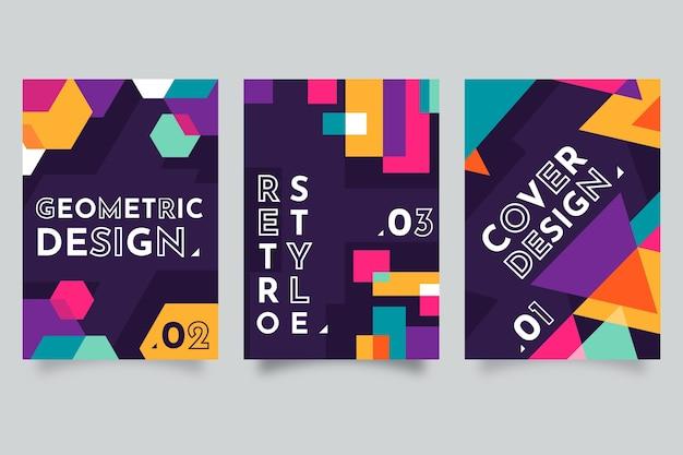 Kolekcja kolorowe abstrakcyjne geometryczne okładki