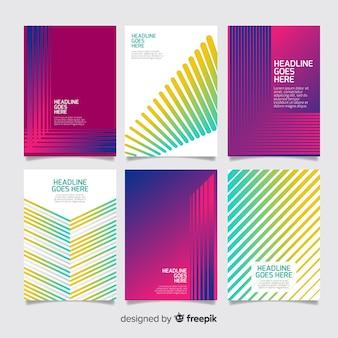 Kolekcja kolorowe broszury geometryczne linie