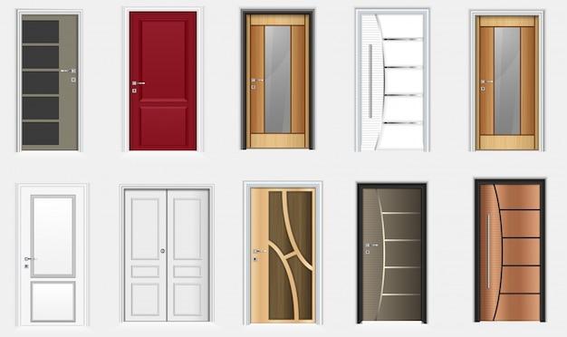 Kolekcja kolorowe drzwi pokoju ikony