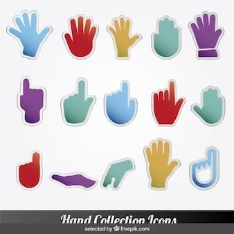 Kolekcja kolorowe ikony ręki