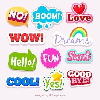 Kolekcja kolorowe naklejki z wyrazy