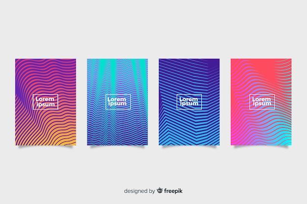 Kolekcja kolorowe okładki geometryczne linie