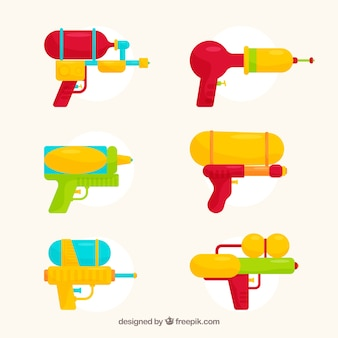 Kolekcja kolorowe pistolety wodne w stylu płaski