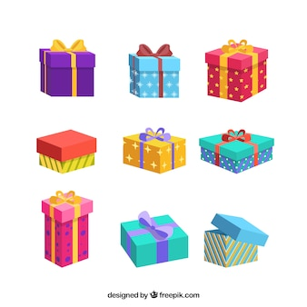 Kolekcja kolorowe prezenty boże narodzenie