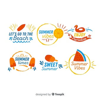 Kolekcja kolorowe ręcznie rysowane odznaka lato