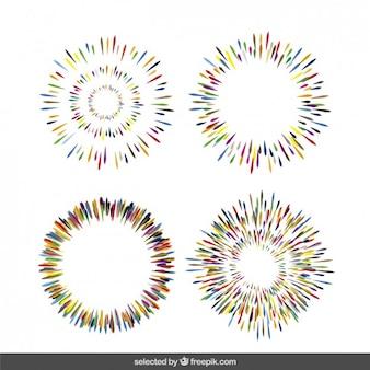 Kolekcja kolorowe sunbursts