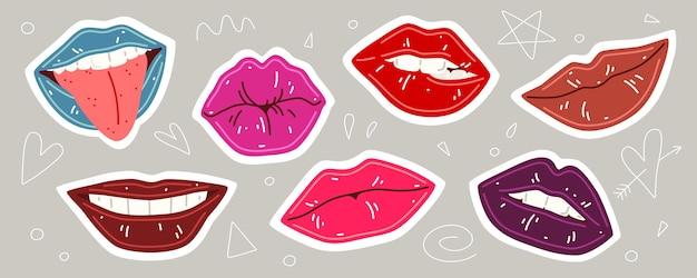 Kolekcja kolorowe usta. zestaw ilustracji wektorowych ust kobiety