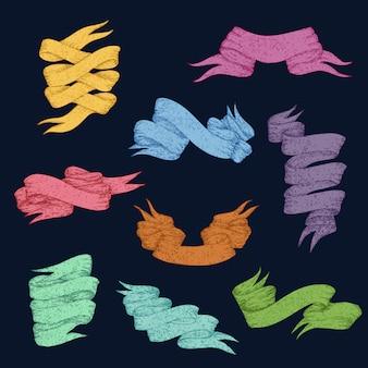 Kolekcja kolorowe wstążki i banery