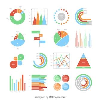 Kolekcja kolorowe wykresy