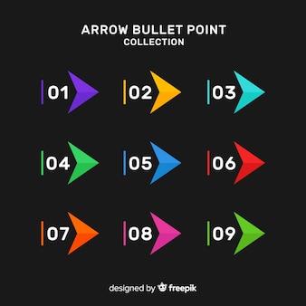 Kolekcja kolorowy strzałka punktor
