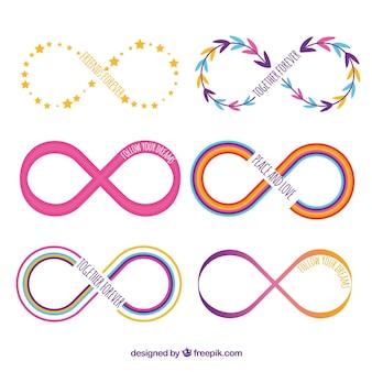 Kolekcja kolorowy symbol nieskończoności z płaska konstrukcja