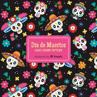 Kolekcja kolorowy wzór día de muertos z płaska konstrukcja