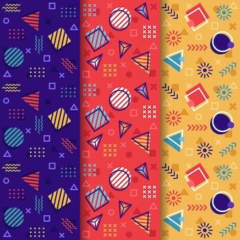 Kolekcja kolorowy wzór memphis