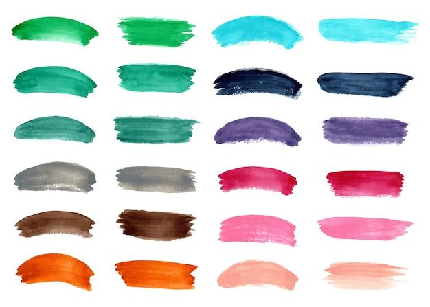 Kolekcja kolorowych akwareli abstrakcyjnych pociągnięć pędzla