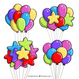 Kolekcja kolorowych balonów w stylu 2d