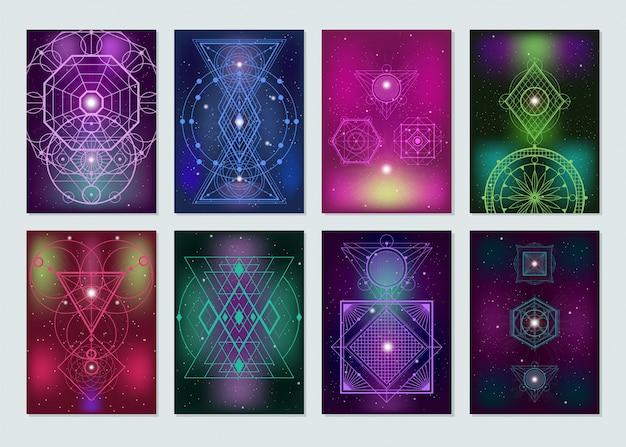 Kolekcja kolorowych banerów świętej geometrii