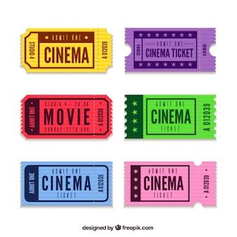 Kolekcja kolorowych biletów kinowych w płaskiej konstrukcji
