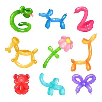 Kolekcja kolorowych błyszczących balonów w różnych kształtach: wąż, pies, łabędź, koń, kwiat, żyrafa, niedźwiedź, słoń i kokarda. zabawki dmuchane dla dzieci. płaskie ikony