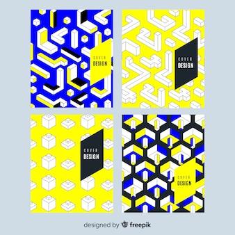 Kolekcja kolorowych broszur izometrycznych