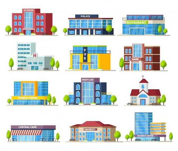 Kolekcja kolorowych budynków miejskich