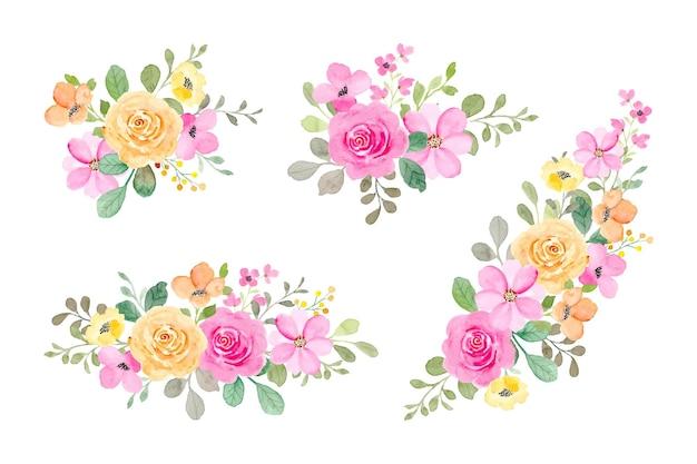 Kolekcja kolorowych bukietów kwiatowych z akwarelą